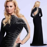 2015 Winter High Collar Black Prom Gowns Long Sleeve Evening Dress Mermaid Crystal Vestido de Festa E6248