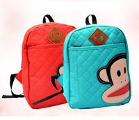 New Cartoon Monkey Children School Bags,Canvas Plaid Kids Backpack,Candy Color Kindergarten Student Bags