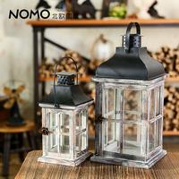 Vintage windproof mousse american style wooden loft retro finishing lantern - square grid