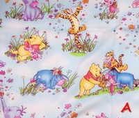 "Shabby chic Bear piggy printed cotton fabric for patchwork quilting chlidren bedding cloth  by meter yard ""Best friend"" 160cm"