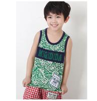 Children Pattern Print O-neck Sleeveless Trustworthy 2014 New popular Cotton Tank 1321606 Top Shirts Crew Vest Cami