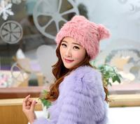 Fashion handmade rabbit hat wholesale fur knitted cap for winter warm hat women's fashion fur hat