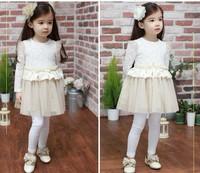 Free Shipping  Kids clothes Children dress cotton lace Girls Dreess spring and Autumn Princess children's dresses 2 color