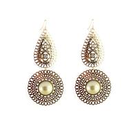 Golden hollow-out ShanZuan pearl exaggeration Long earrings 2pcs/lot