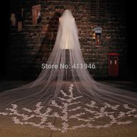 2015  Bridal veil 3.5 meters luxury decals long veil