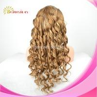 In Stock Brazilian Virgin Hair Silk Base  Full Lace Human Hair Wigs Spiral Curly #30 hightlight #613 Color Glueless Blonde Wig