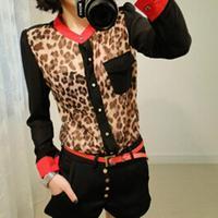 Free shippingNew Fashion Women Chiffon Blouse Top shirts Long Sleeve Leopard Shirt casual fashion T-shirt