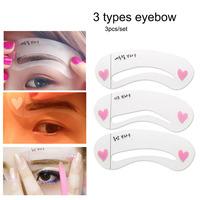 3pcs/pack eyebrow stencil tool makeup kit magic diy permanent professional eyebrow template stencil