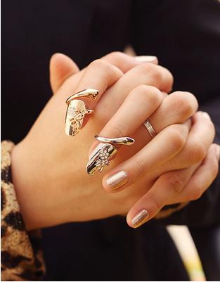 European fashion style personality nail rings charming rhinestone ring finger ring false fingernails for fashion women 10pcs/lot(China (Mainland))