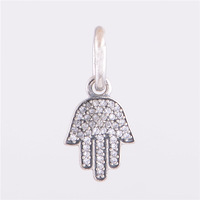 New Arrival the slap palm Pendant inlaid CZ, 100% 925 Sterling Silver charm bead, Free Shipping