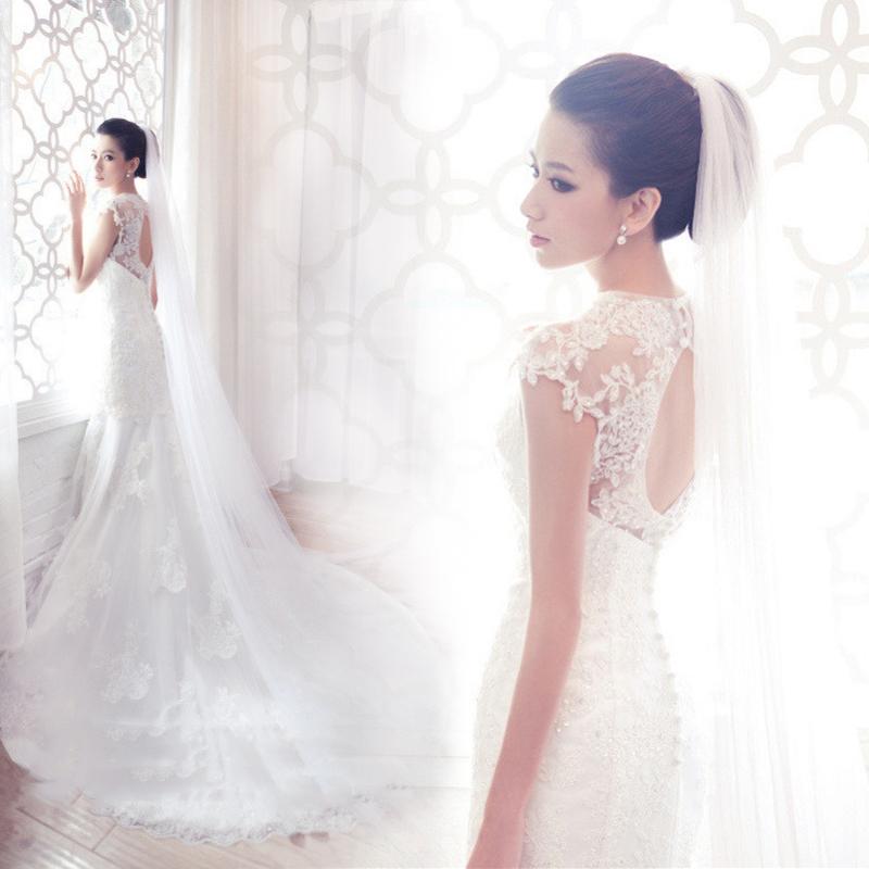 Rendas a noiva se casou com mulheres plus size peixe cauda longa fuga(China (Mainland))