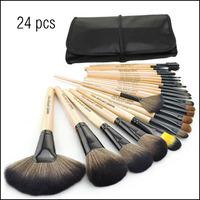 24 Pcs Set Professional Make Up Brushes Kit Portable Cosmetic Brush Makeup Tools (Wood Color)