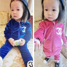2014 New arrival Retail Clothing set girls boys CC rose suits autumn children suit kids coat + pants 2 pieces sets free ship(China (Mainland))