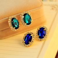 Cutout sea blue crystal diamond big earrings female stud earring