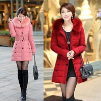 2014 new authentic female long down jacket fur collar padded jacket size XL-5XL down cotton clothing