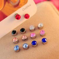 General kalyptolith rhinestone magnet stud earring sparkling diamond no pierced earrings