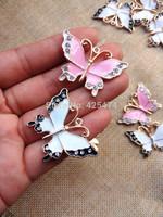 White/pink crystal rhinstones mtal necklace pendant Chunky oil drop jewelry necklace pendant 30pcs Butterfly bracelet charms