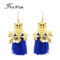 Boucles D'oreille Women Tassel Gold Alloy Owl Earrings Black Blue Hotpink Dangle Earring Ethnic Designer Jewelry
