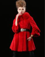Free shipping Rex Rabbit Fur Woman Outwear Coat with Fox Fur Collar 3/4 sleeve Luxury womens winter jackets chaquetones de mujer