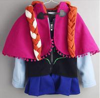 CS056  Free shipping 2014 new frozen Elsa Anna girls hooded jacket girls frozen winter coat kids lovely warm outwear retail
