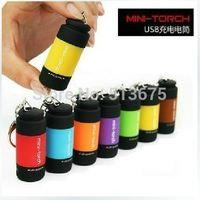 Free Shipping 1pc LED flashlight glare rechargeable flashlight mini USB charging flashlight