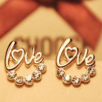 0510 love stud earring female fashion letter earrings bling earrings