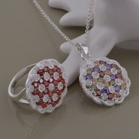 Classic New Fashion Jewelry 925 Sterling Silver Women's Chain Round Neckalce&Ring Set