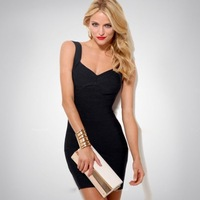 Spaghetti Strap Bandage Dress Sexy Night Club Wear Elastic V Neck Party Mini Dress HLL Black Red White Pink