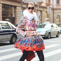 Luxury Woman Fox Fur Collar 90%White Duck Down Parkas 2014 Winter Clothing Plus Size Print Skirt Long Down Jacket Coat Outerwear