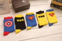 Free shipping Superman Batman Captain America cartoon odd future happy socks character pattern Superheroes socks 134w