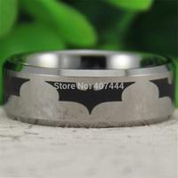 Free Shipping USA UK Canada Russia Brazil Hot Sales 8MM Silver Bevel Batman Dark Night Men's Comfort Fit Tungsten Wedding Ring