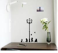 1PC Free Shipping Decorative Removable Lamp Cat Wall Stickers Decal for Home Stairs Sticker Decals k101