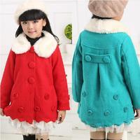 kids Girls coat New Fashion Winter Girl woolen overcoat baby Children's parka jackets