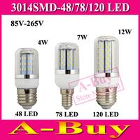 1Pcs 4W 7W 12W Wall LED Lamps E27 E14 GU10 G9 B22 48 78 120 LEDs AC 110V 220V 85V-265V 3014 SMD Corn LED Bulb Ceiling light
