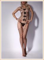 Sexy Lingerie Big Diamond Black Fence Net Fishnet Bodystocking Garter Belt with black bowknot