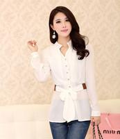 Hot !  Elegant Women Chiffon Blouses Office Lady Shirts With Sashes  Mandarin Collar  Long Sleeve White/Black/Pink/Yellow  E5153