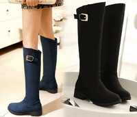 NEW 2014 Fashion Women's fashion Shoes Winter Boots Med Heel Knee-High Synthetic Suede Boots With Buckle
