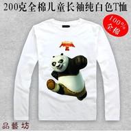 Children's clothes Kung fu panda Po long-sleeve T-shirt  fashion child white 100% cotton basic shirt