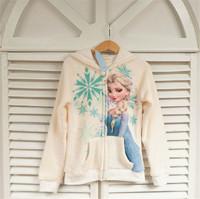 2015 New winter girls coat, 100% cotton Elsa jacket, Children's recreational coat, children's warm hooded jacket.