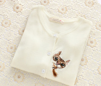 Wild was thin thin sweater knit cardigan beautifully embroidered cat