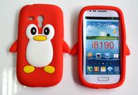 Free Shipping For Samsung Galaxy S3 MINI i8190 Penguin Silicone Case,Silicon Case Cover for Samsung Galaxy S3 MINI i8190