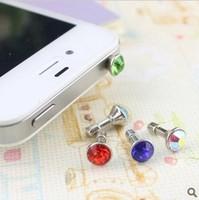 Free shipping crystal diamond anti dust plug dustproof for 3.5 MM headphone jack smart phone