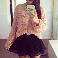 Women 3D Floral Blouses roupas femininas long sleeve Autumn White Tee Pink blouse blusas blusa t shirt vestidos high street tops
