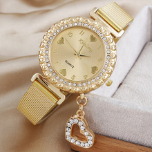 Promotion Of The Most Popular Style Of Hawaii Fashion Gold Quartz Watch Peach Heart Pendant Jewelry Woman