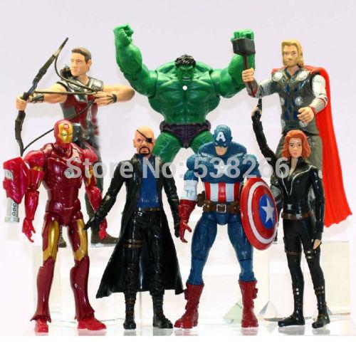 Fashion Children Toys Set The Avengers Hulk+Captain America+Black Widow+Iron Man+Thor Figure 7 PCS SET(China (Mainland))