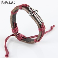 2015 new fashion man women leather bracelet hollow cross Christian Accessories 20pcs/lot hand bracelet wholesale