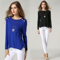 Plus Size Blouse Button Detail Asymmetric Women Tops Long Sleeve Casual Blusa #SN1130