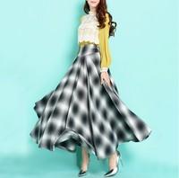2015 New fashion vintage plaid wool skirt women's autumn winter long skirt plus size full length skirt all match a line skirt