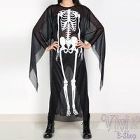 New Adults Fancy Gauze Halloween Costume Men Women Skeletons Skull Vampire Clothes Carnival Costumes Black Fantasia Hot Sale