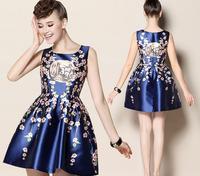 New arrival top quality silk dresses vintage style print dresses for women S/M/L silk dresses for women